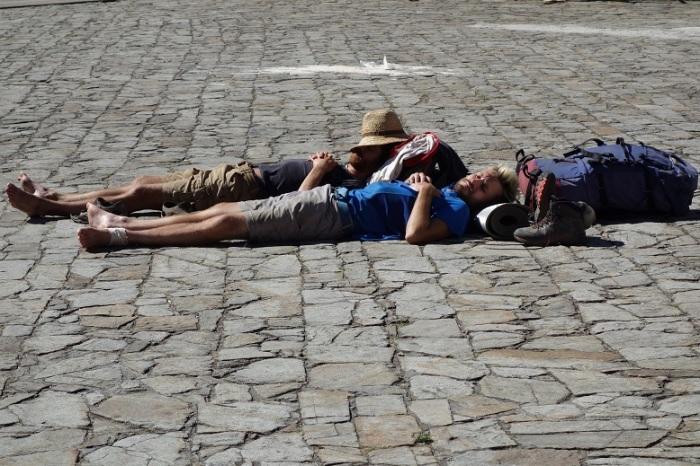 Sleeping on stones